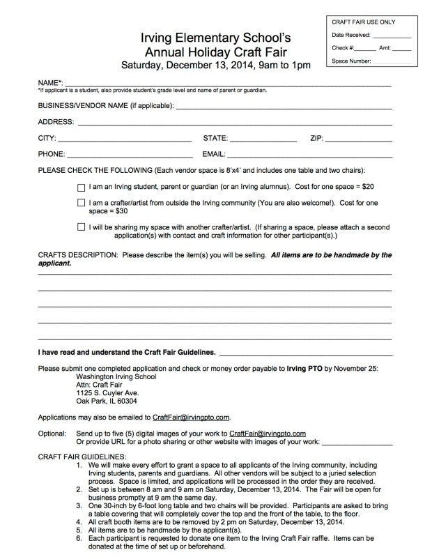 Craft Fair Application 2014