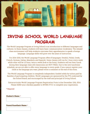 IRVING SCHOOL WORLD LANGUAGE PROGRAM