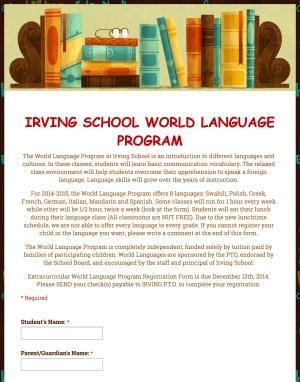 IRVING SCHOOL WORLD LANGUAGE PROGRAM