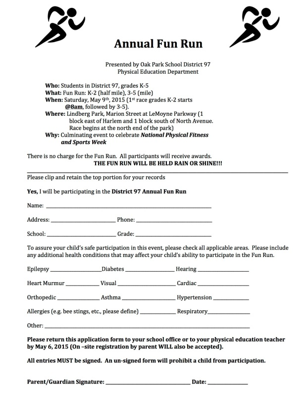Fun Run Sign Up - 2015