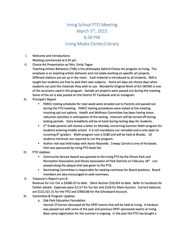 Irving School PTO Meeting minutes 3-05-2015
