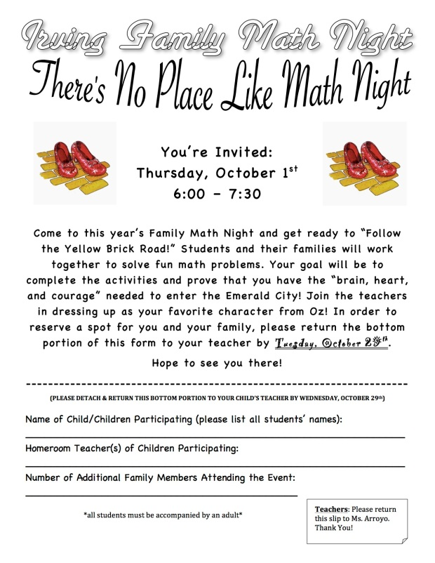 No Place Like Math Night Permission Slip