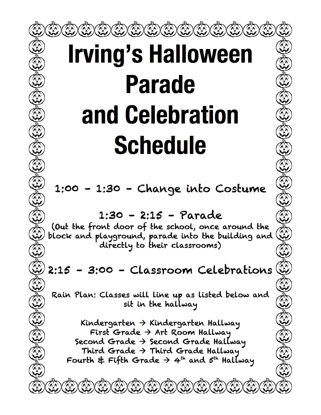 irvings halloween parade schedule