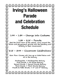 Irving's Halloween Parade schedule