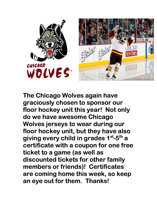 The Chicago Wolves floor hockey flyer