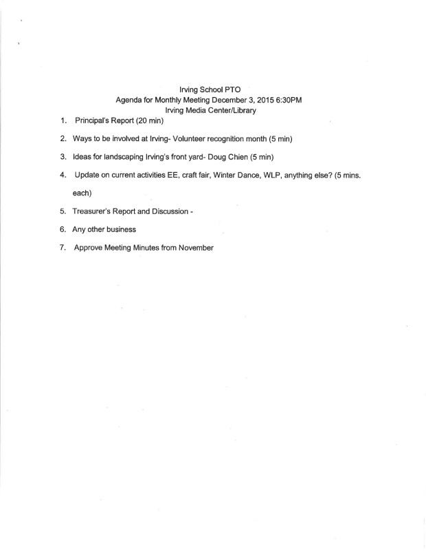 Irving School PTO Meeting 12-03-2016 handouts