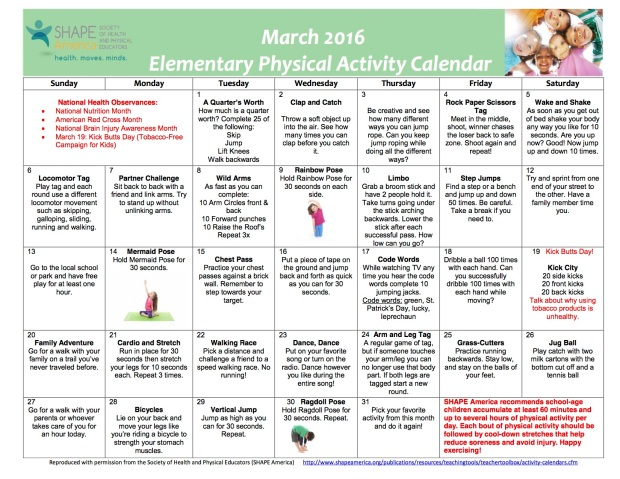 March 2016 Elementary Physical Activity Calendar - English