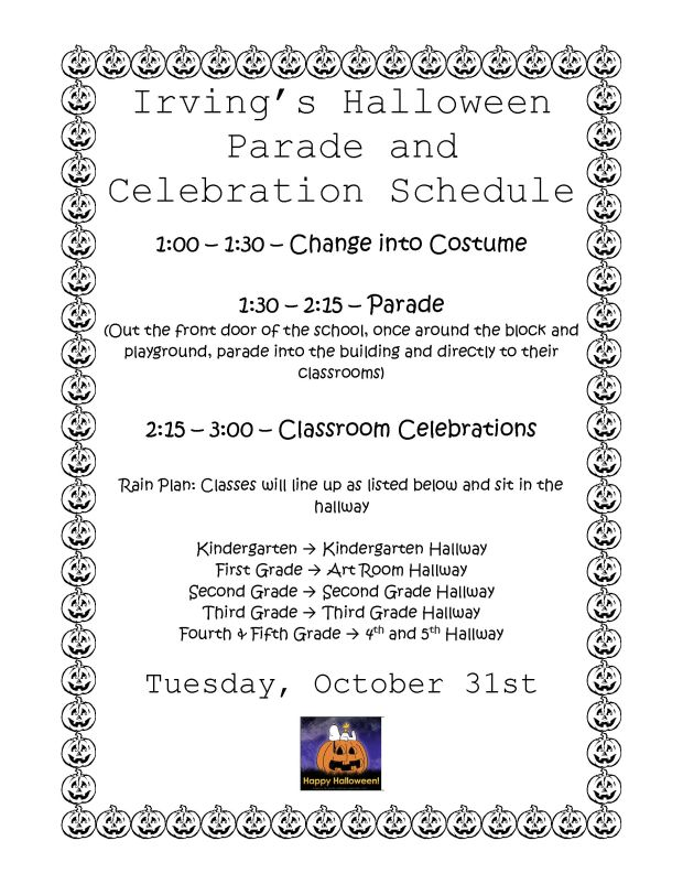 Irving_s Halloween Parade flier