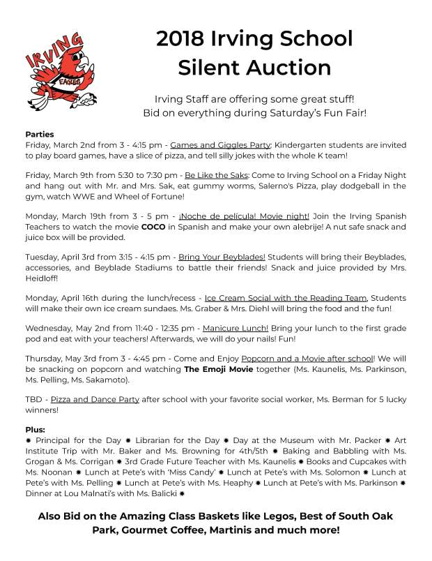 2018 Silent Auction Teacher Flyer - Google Docs