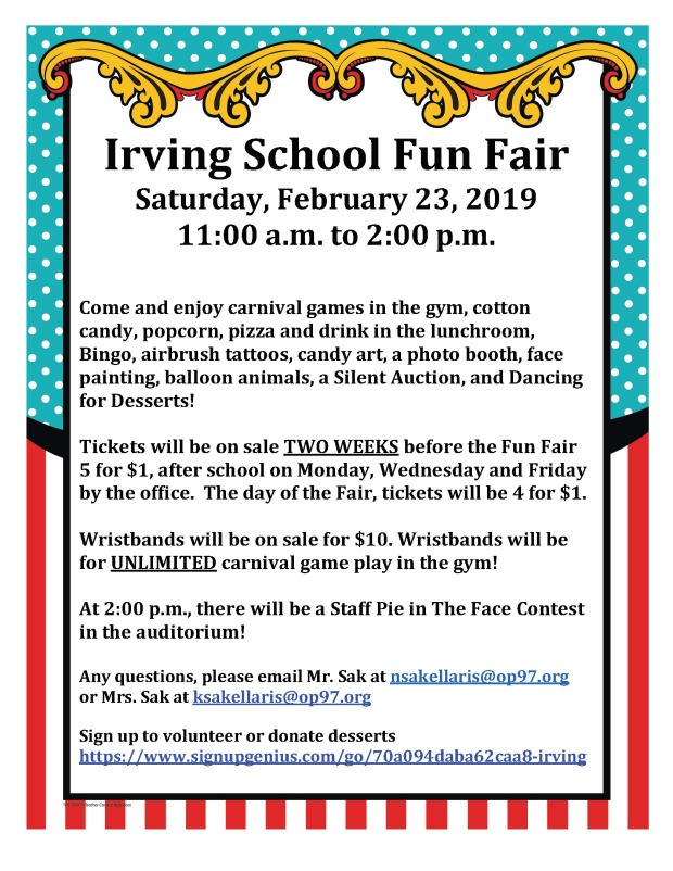 irving school fun fair flyer